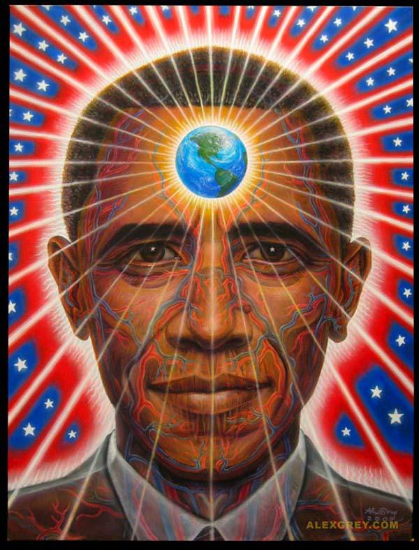 Barack Obama - Painted by Alex Grey